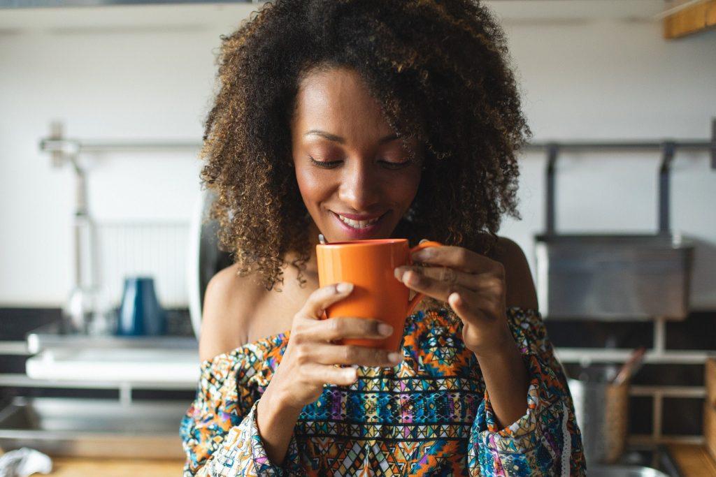 woman drinking tea tonics